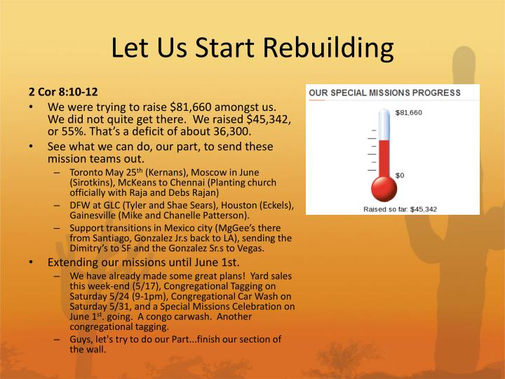 Let Us Start Rebuilding