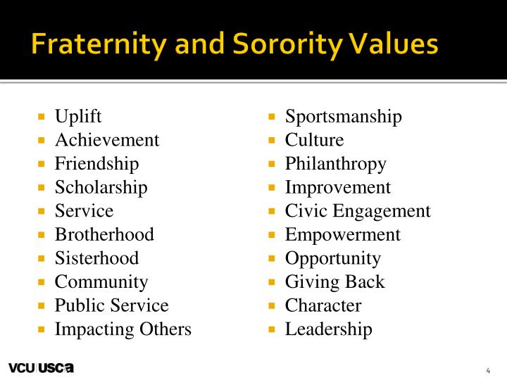 Fraternity and Sorority Values