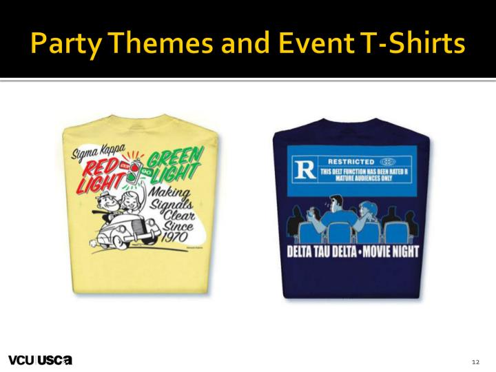 Party Themes and Event T-Shirts