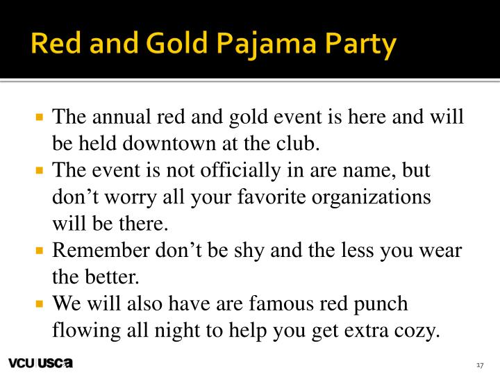 Red and Gold Pajama Party