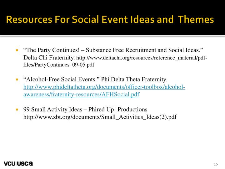 Resources For Social Event Ideas and  Themes