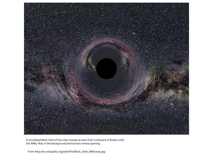 A simulated Black Hole of ten solar masses as seen from a distance of 600km with the Milky Way in the background (horizontal camera opening
