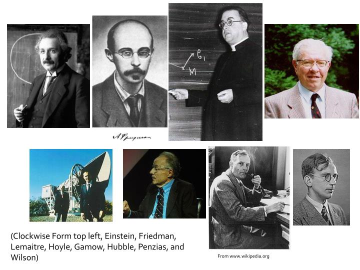 (Clockwise Form top left, Einstein, Friedman, Lemaitre, Hoyle, Gamow, Hubble, Penzias, and Wilson)