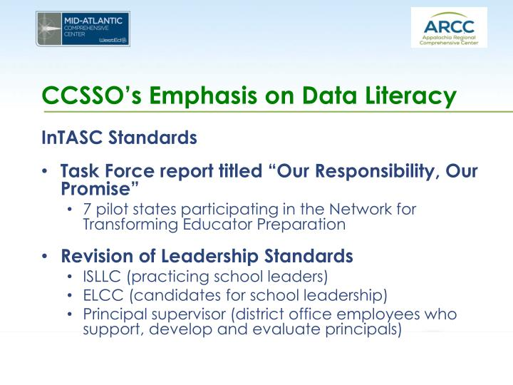 CCSSO's Emphasis on Data Literacy