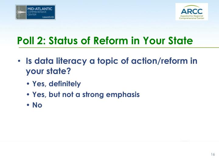 Poll 2: Status of Reform in Your State