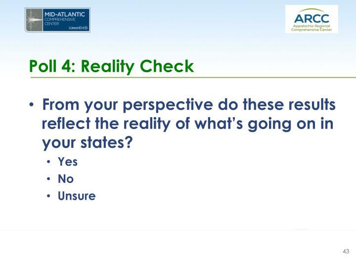 Poll 4: Reality Check
