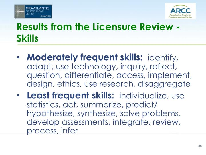 Results from the Licensure Review - Skills