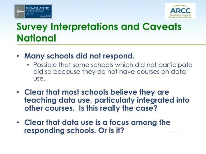 Survey Interpretations and Caveats National