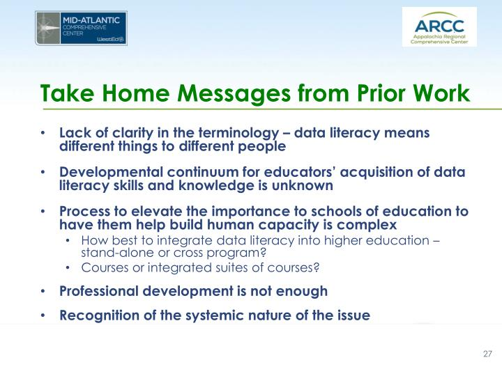 Take Home Messages from Prior Work