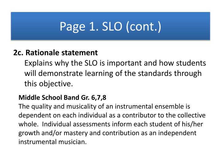 Page 1. SLO (cont.)