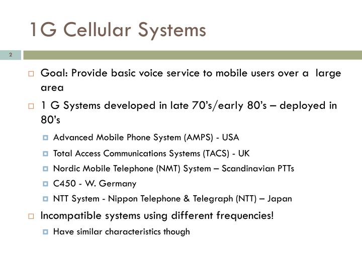 1G Cellular Systems