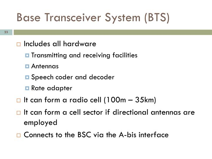 Base Transceiver System (BTS)