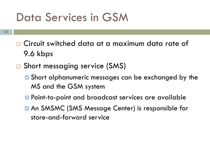 Data Services in GSM
