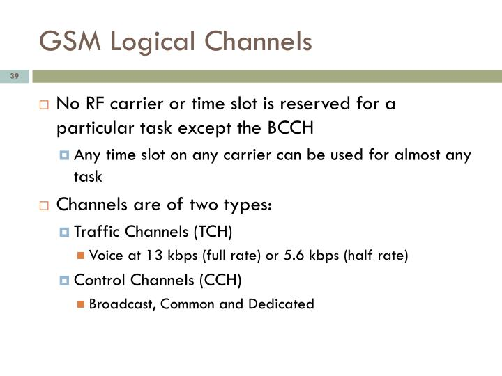 GSM Logical Channels