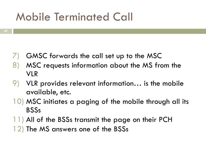 Mobile Terminated Call