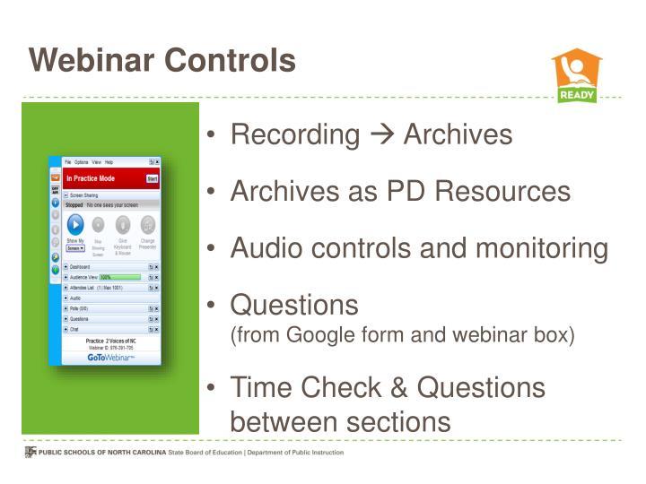 Webinar Controls