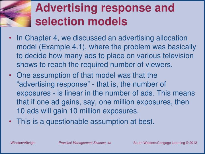 Advertising response and selection models