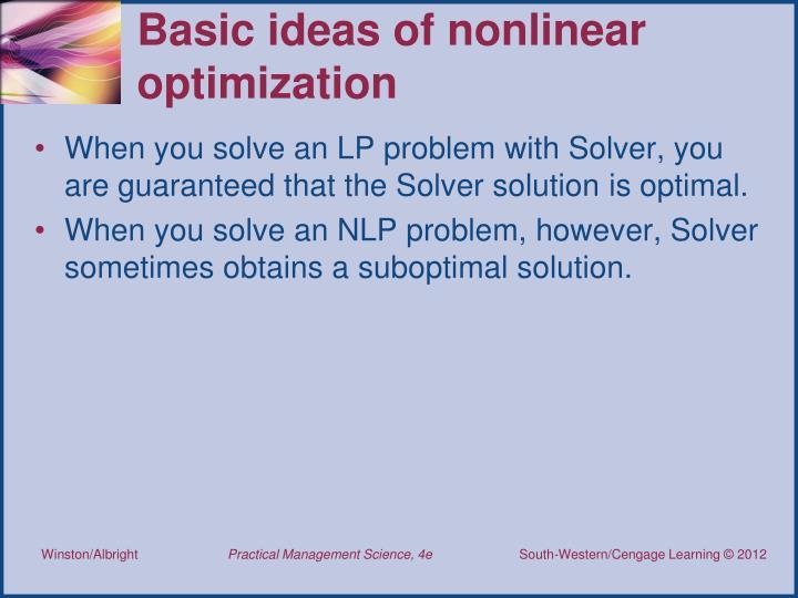 Basic ideas of nonlinear optimization