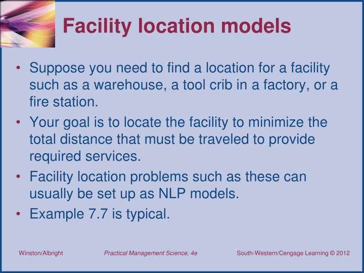 Facility location models
