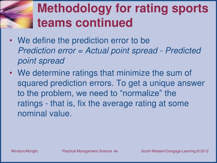 Methodology for rating sports