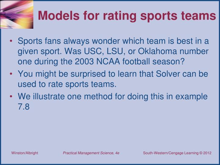 Models for rating sports teams