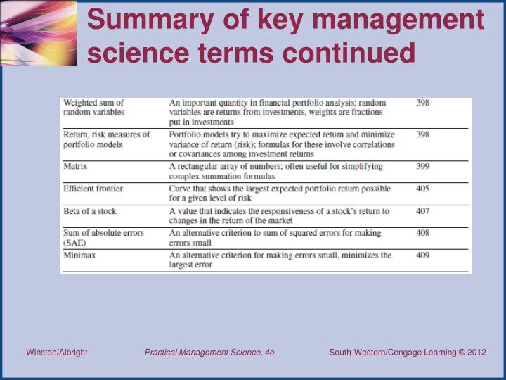 Summary of key management science terms continued
