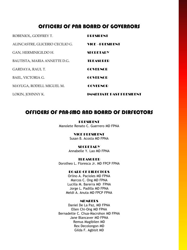 OFFICERS OF PNA BOARD OF GOVERNORS