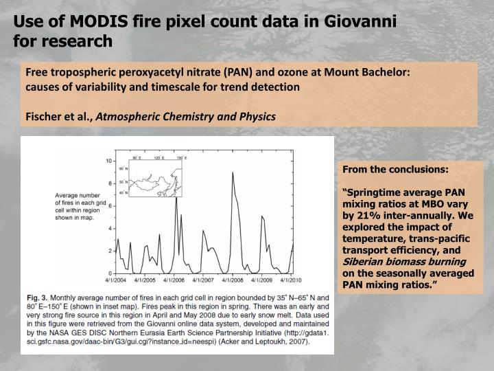 Use of MODIS fire pixel count data in Giovanni