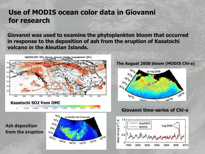 Use of MODIS ocean color data in Giovanni