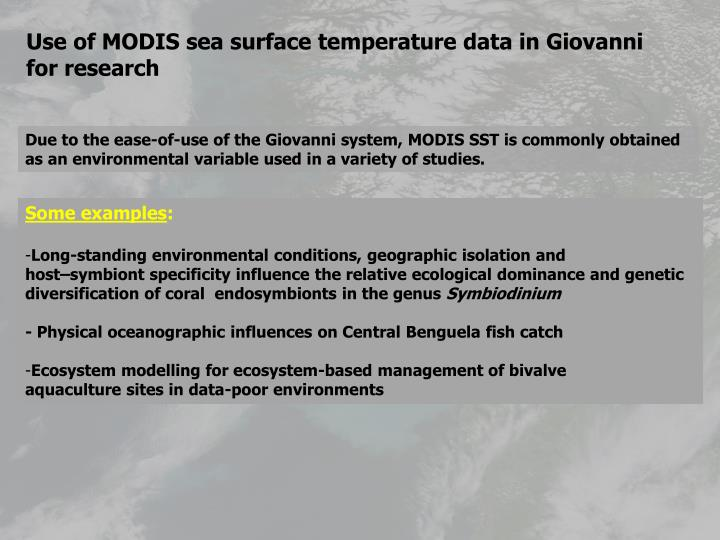 Use of MODIS sea surface temperature data in Giovanni