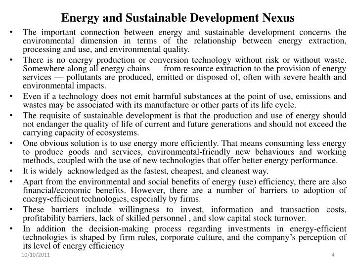 Energy and Sustainable Development Nexus
