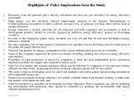 highlights of policy implications from the study