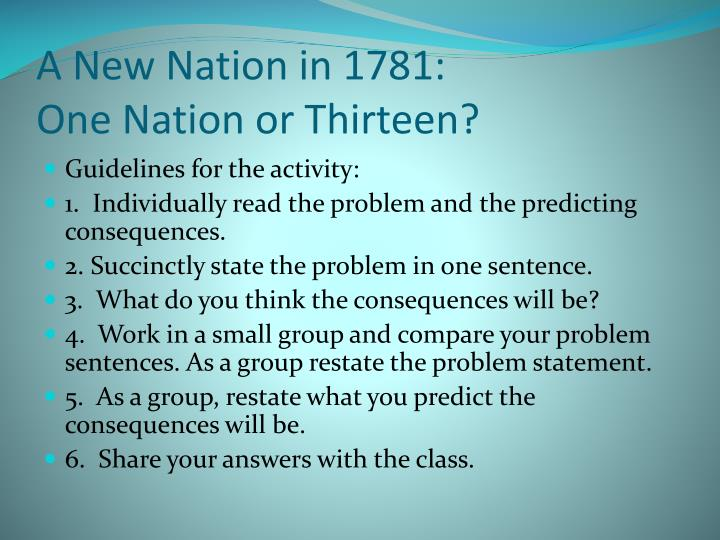 A New Nation in 1781: