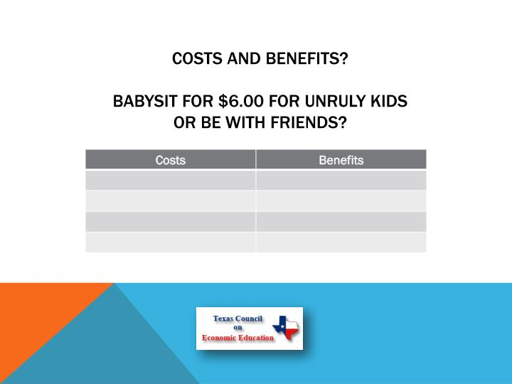 Costs and benefits?