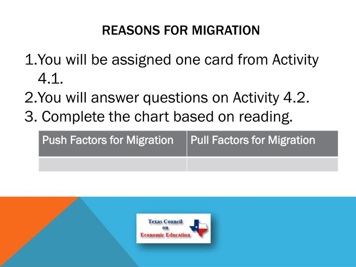 Reasons for Migration