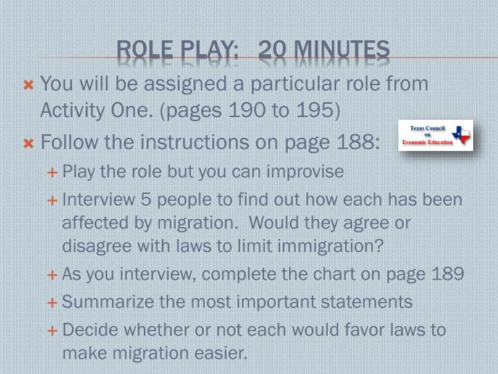 You will be assigned a particular role from Activity One. (pages 190 to 195)