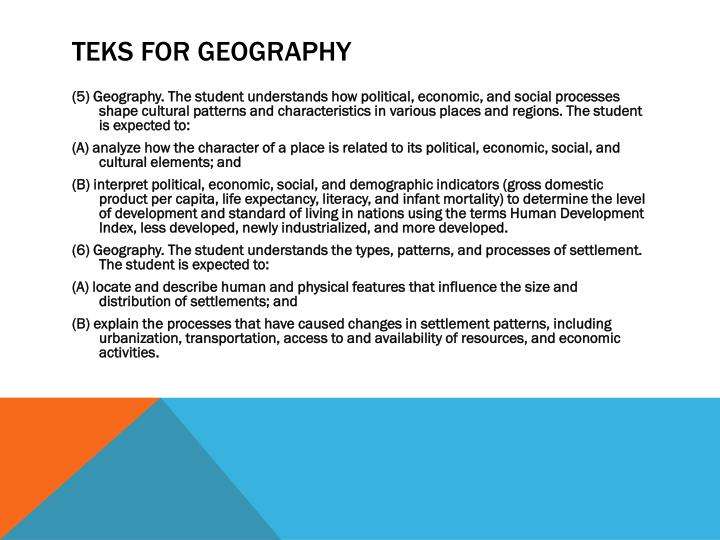 TEKS for Geography