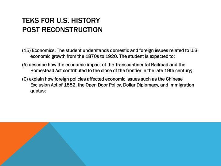 TEKS for U.S. History