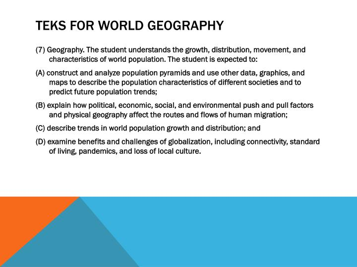 TEKS for World Geography