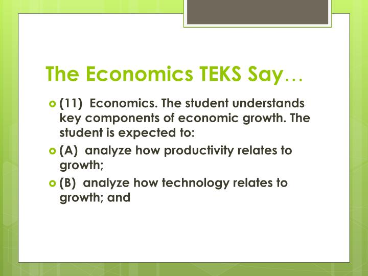 The Economics TEKS Say