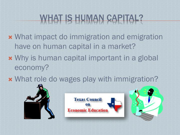 What impact do immigration and emigration have on human capital in a market?