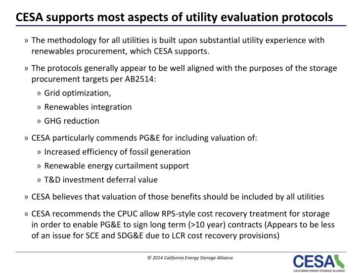 Cesa supports m o st aspects of utility evaluation protocols