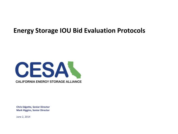 Energy storage iou bid evaluation protocols