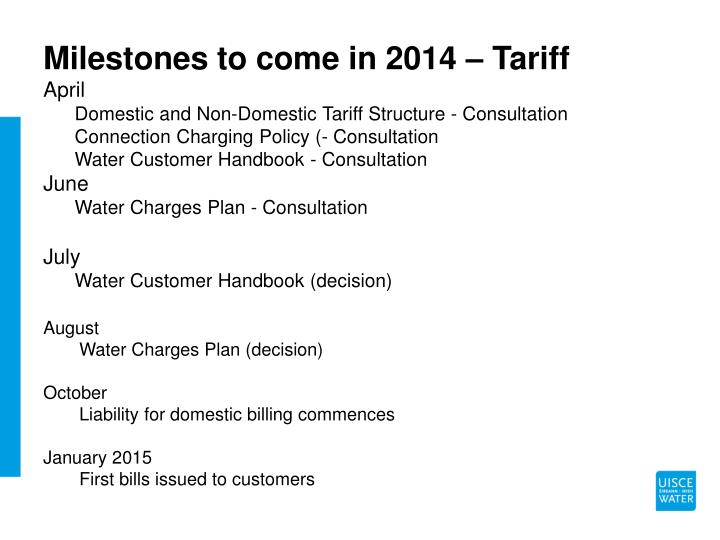 Milestones to come in 2014 – Tariff