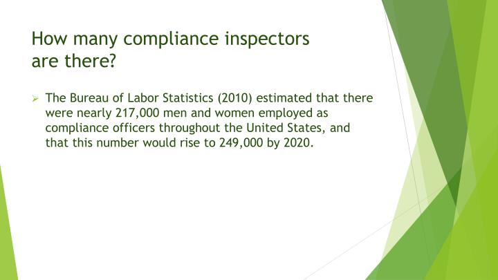 How many compliance inspectors are there
