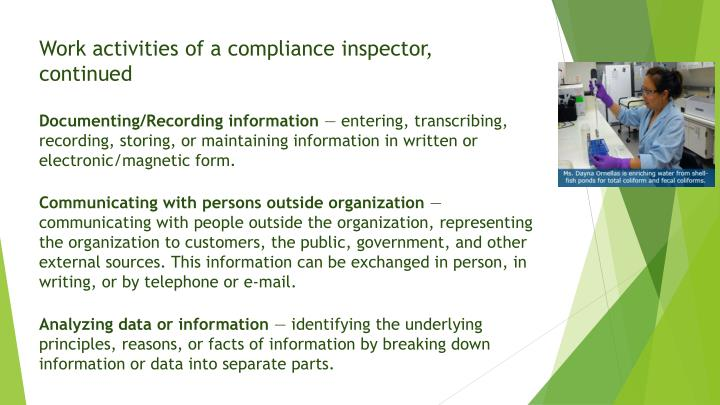 Work activities of a compliance inspector,