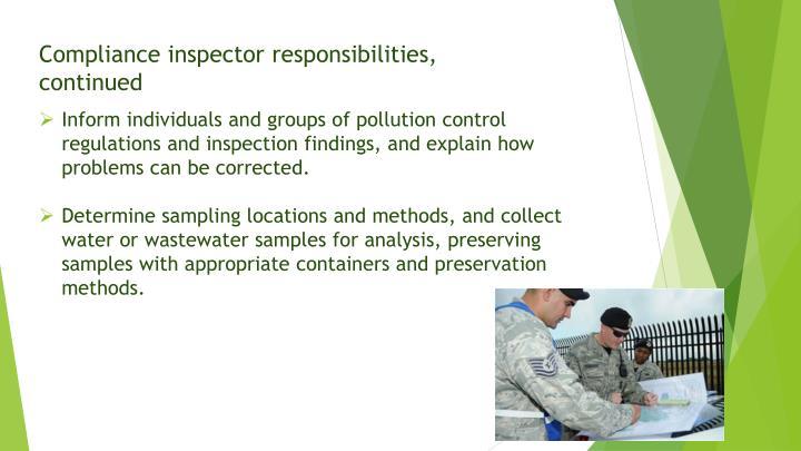 Compliance inspector responsibilities,