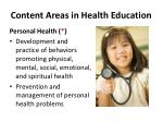 content areas in health education1