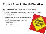 content areas in health education6