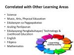 correlated with o ther learning areas